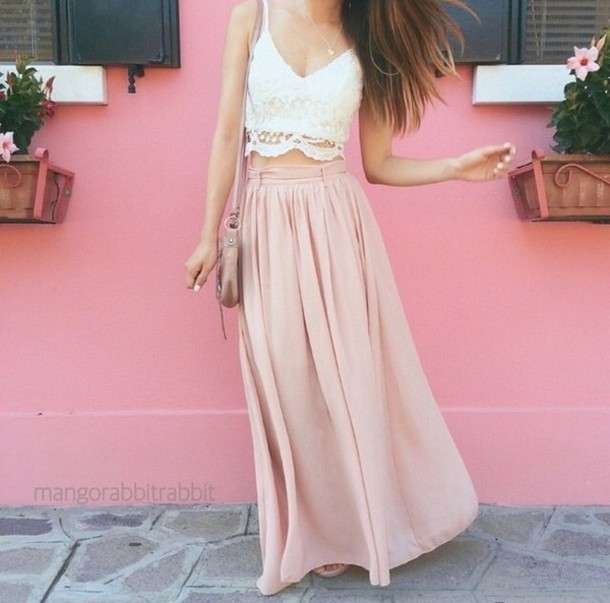 Pastel Pink Long Skirt - Shop for Pastel Pink Long Skirt on Wheretoget