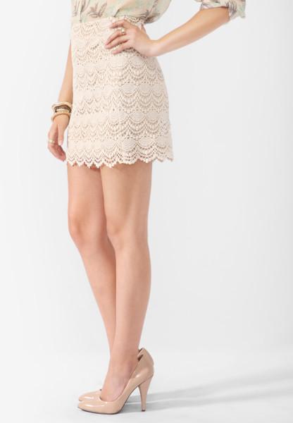 Forever 21 Pink Scalloped Crochet Lace Skirt