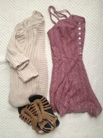 lace romper pinkish red button up spagetti straps cardigan