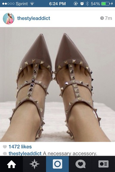 shoes studded shoes neutral colors pointy toe heels
