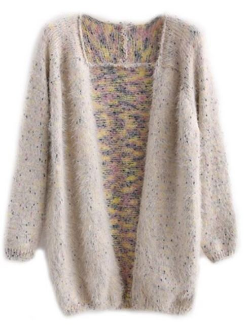 Beige Fluffy Open Front Cardigan With Colorful Polka Dots