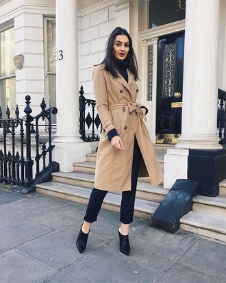 shoes black shoes coat camel coat pants black pants mules heels trench coat
