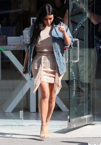 skirt denim jacket nude skirt coral skirt kim kardashian nude dress shoes