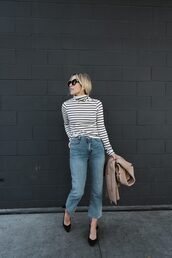 top,tumblr,turtleneck,turtleneck sweater,stripes,striped sweater,denim,jeans,blue jeans,cropped jeans,shoes,sunglasses