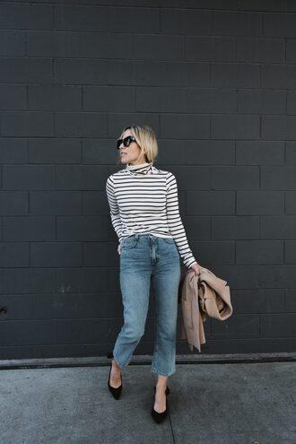 top tumblr turtleneck turtleneck sweater stripes striped sweater denim jeans blue jeans cropped jeans shoes sunglasses