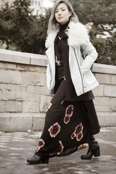feral creature blogger coat faux fur vest maxi dress dress cardigan shoes jewels