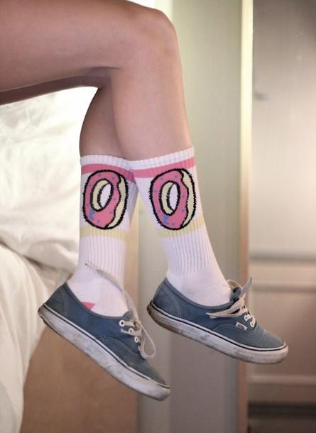 shoes socks donut legs hipster pants underwear high socks of donut pink