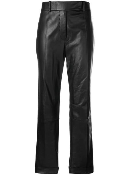 women leather cotton black pants