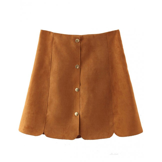 Faux Suede Buttons Skirt