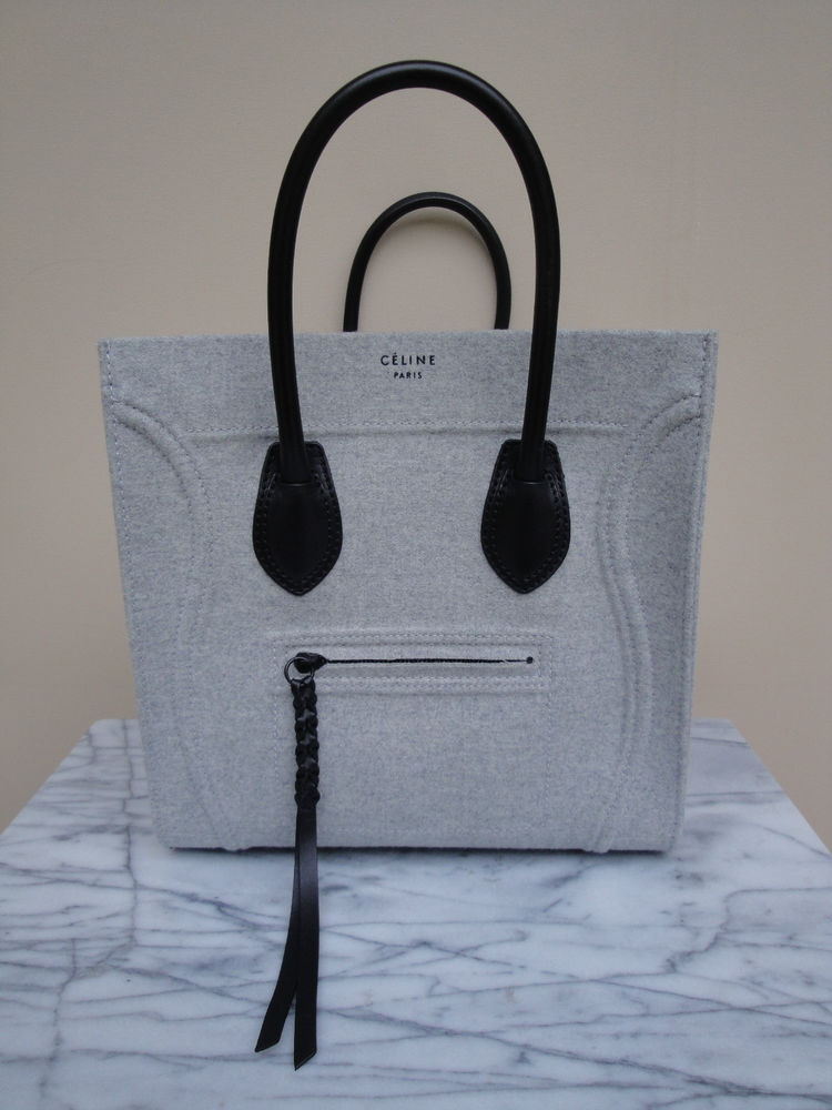 Celine 2013 Medium Phanton Pearl Gray Wool Black Leather Tote Bag New | eBay