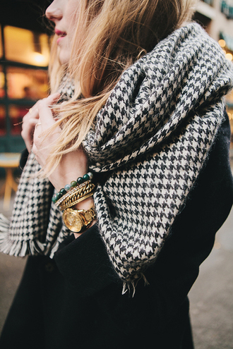 scarf black and white houndstooth