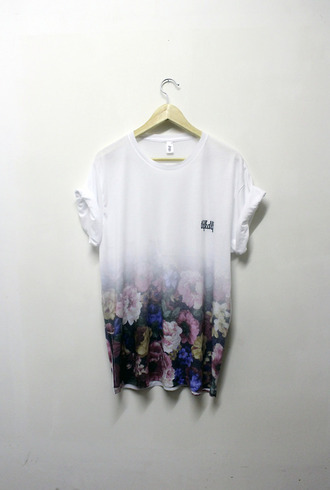 clothes shirt t-shirt white tumblr floral black and white fade menswear plz and i love you black and white