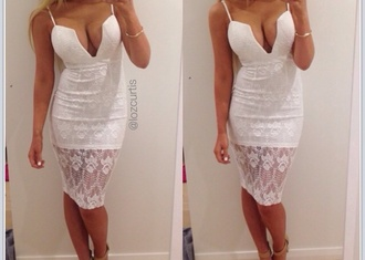 bodycon dress dress cut-out dress patterned dress mini dress plunge v neck plunge dress v neck dress low cut dress white short dress lace dress v neck midi dress girl women cleavage lace straps blonde hair tan