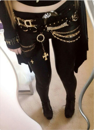 jeans gothic pants skinny jeans chain belt
