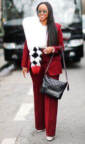 bag,red blazer,chanel gabrielle hobo bag,chanel,chanel bag,pants,red pants,scarf,fur scarf,blazer