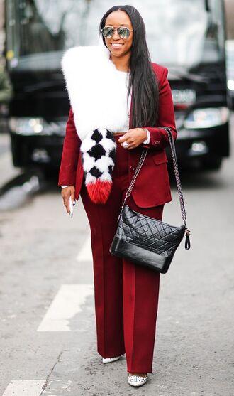 bag red blazer chanel gabrielle hobo bag chanel chanel bag pants red pants scarf fur scarf blazer