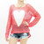 Oversize mesh Knit Heart Sweater