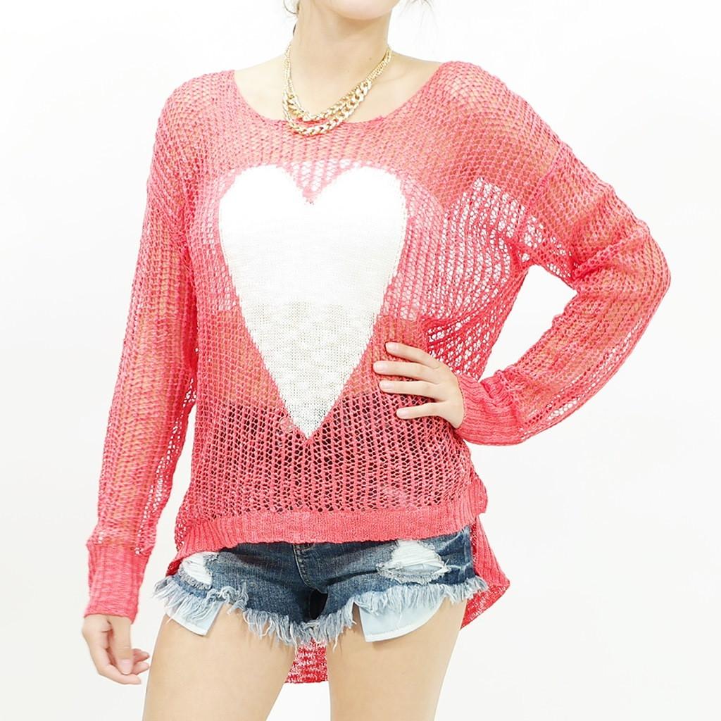 Oversize mesh Knit Heart Sweater