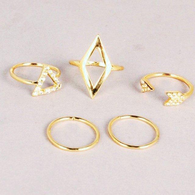 Fashion gold silver rhombus crystal triangle arrow rings set (5 ...