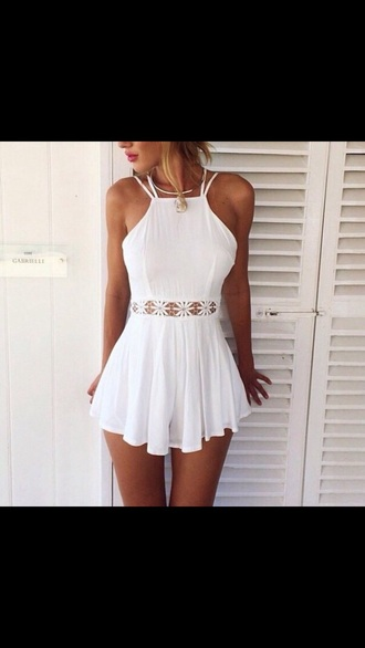 dress white dress white lace dress white lace floral dress girly skirt crochet lace dress lace romper romper casual classy blogger fashion beach beach dress