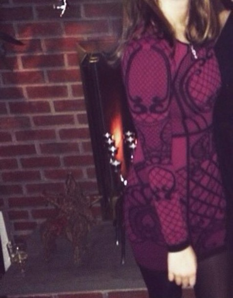 dress purple maroon dress sweater dress