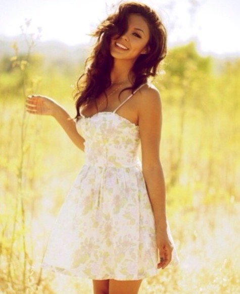 dress mini dress white dress summer dress floral dress vanessa hudgens