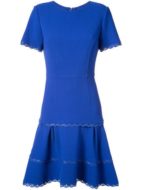 oscar de la renta dress pleated dress pleated women spandex blue wool