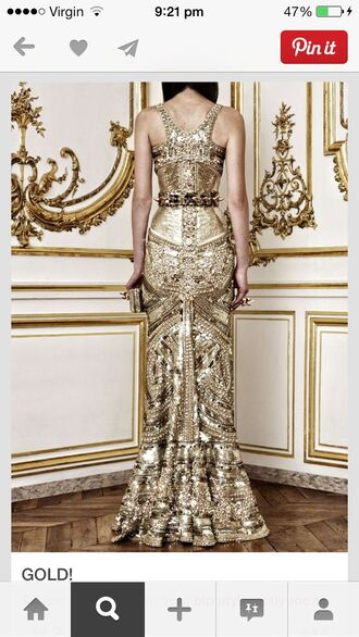 gold gold sequins studs embellished evening dress metallic givenchy