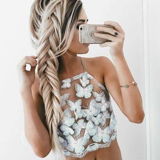 blouse top cute crop-top butterfly summer summer top