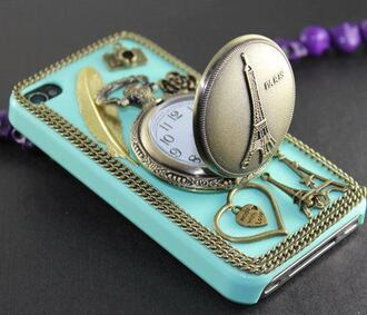 jewels phone cover paris clock feathers heart