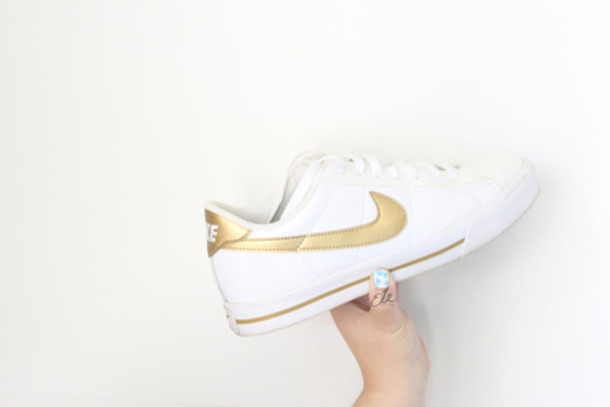 shoes, nike, sneakers, gold sneakers
