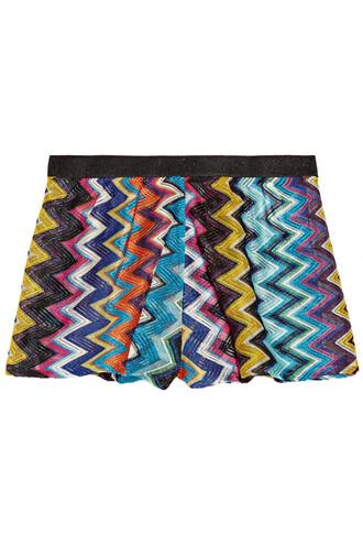 shorts knit metallic crochet blue