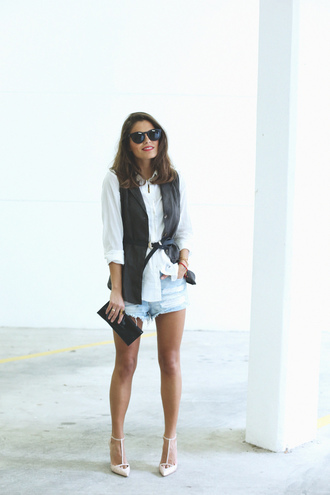 seams for a desire blogger denim shorts waist belt pointed toe white shirt vest jacket shirt shorts shoes jewels sunglasses belt