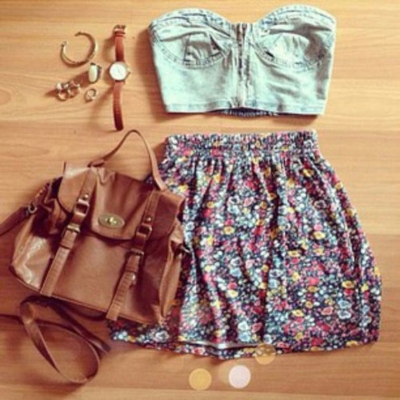 skirt bag cute floral skirt spring summer blouse hipster leather bag bandu skirt and bag bandu top jewels