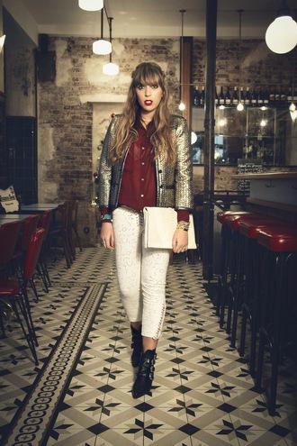 fringe and frange blogger jacket shirt pants shoes metallic cropped pants pouch