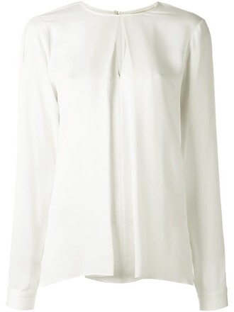 blouse pleated women nude silk top