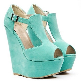 shoes wedge sandals suede shoes light blue