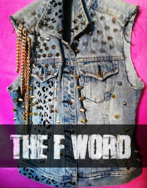 jacket denim vest spike leopard print