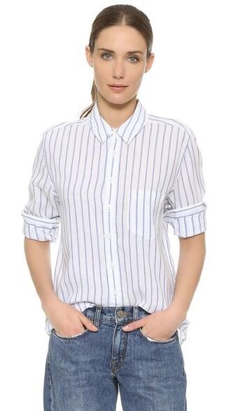 shirt blue shirt stripes white blue top