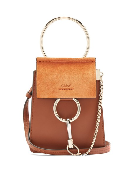 Chloe cross mini bag leather suede tan