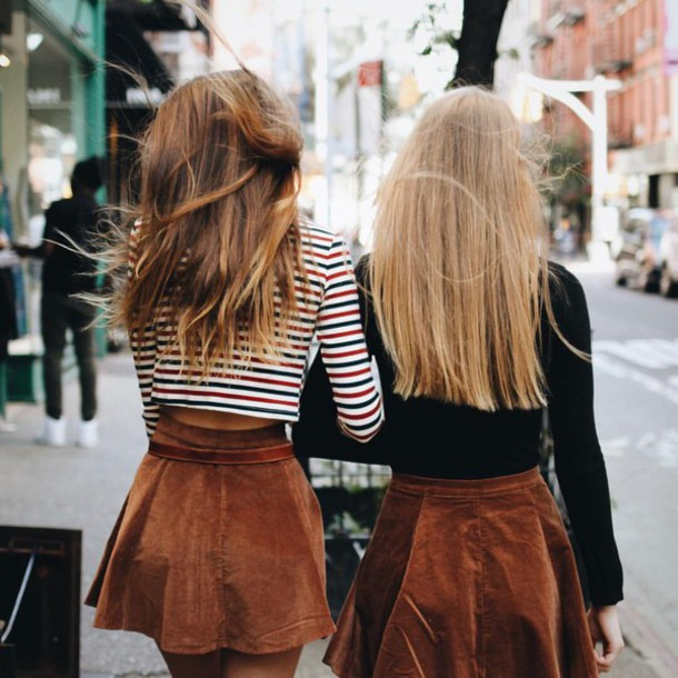 Skirt shirt brown skater skirt chic city outfits stripes black hippie tumblr clothes ...