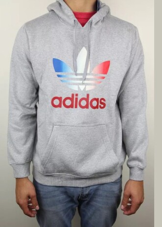 shirt adidas sweatshirt hoodie grey gray hoodie red white blue adidas jacket red white and blue gray adidas sweatshirt sweater