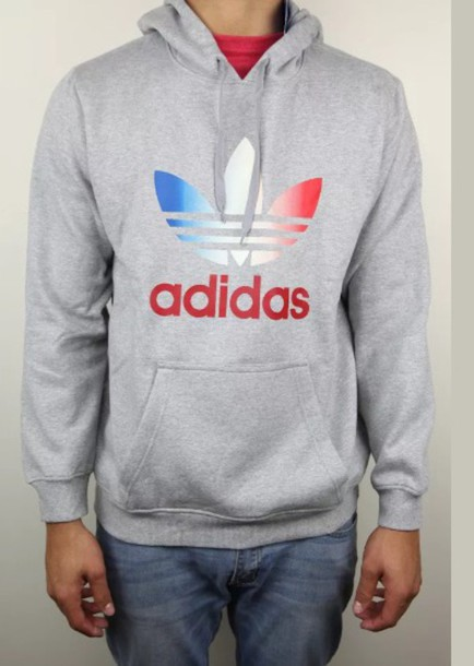 1109d6897b0f shirt adidas sweatshirt hoodie grey gray hoodie red white blue adidas  jacket red white and blue