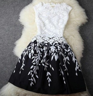 Black And White Leaf Print Embroidered Lace Dress