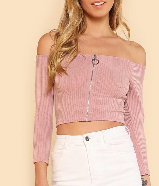 017cade6f2 blouse girly pink zip zip-up off the shoulder off the shoulder top crop tops