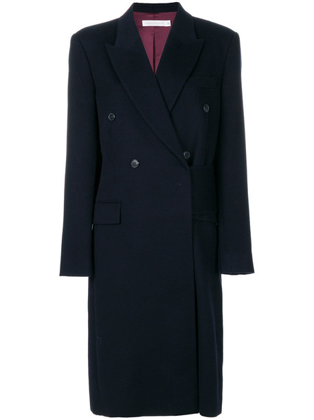 Victoria Beckham coat oversized double breasted women blue wool