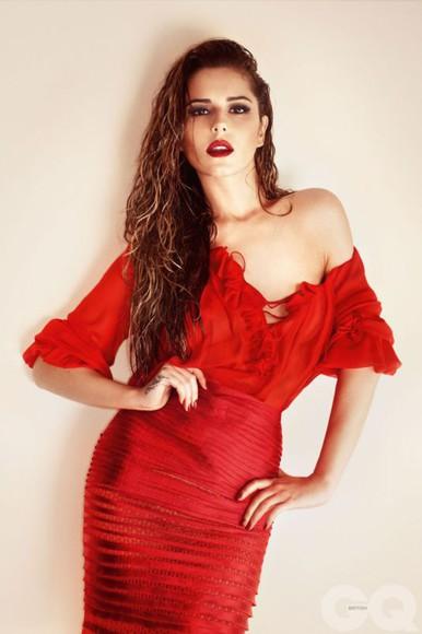 skirt red red skirt pencil skirt blouse cheryl cole