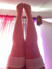 underwear,pink,knit,socks,coral,white,soft pink,baby pink,fold over