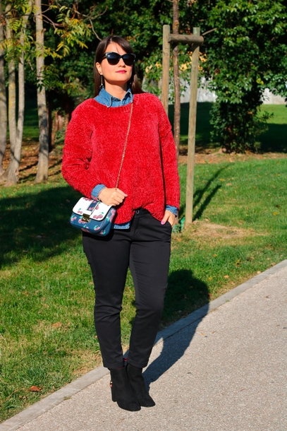 maylovefashion blogger sweater pants bag jewels shoes socks fall outfits red sweater ankle boots black pants