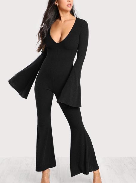 jumpsuit girly black one piece black jumpsuit flare
